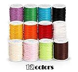 12 rotoli di filo di cotone cerato, 10 m, diametro di 1 mm, per la creazione di gioielli, fai da te, artigianato