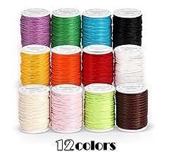 Idea Regalo - Lemon - 12 rotoli di filo di cotone cerato, 10 m, diametro di 1 mm, per la creazione di gioielli, fai da te, artigianato