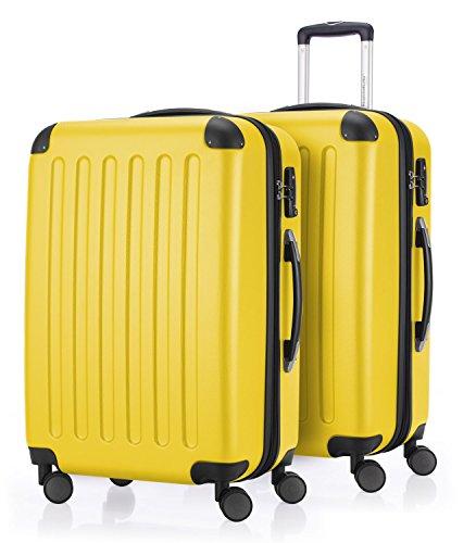 Hauptstadtkoffer - spree - set di 2 valigie trolley rigido con estensione, abs, tsa, 4 ruote, 65 cm, giallo