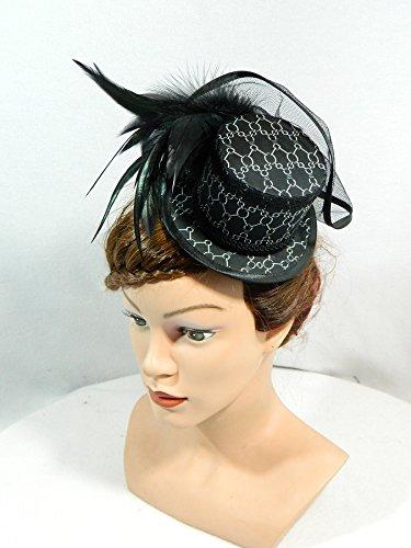 Mini Zylinder schwarz weiß Damenhut Minihat Hut Fascinator Derby Hat Formal Hat Anlasshut (Hoch Oben Hat)
