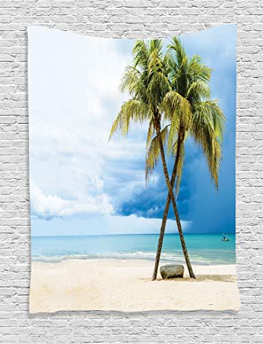 ABAKUHAUS Hawaii Wandteppich, Strand-Palme-Felsen, Wohnzimmer Schlafzimmer Heim Seidiges Satin Wandteppich, 150 x 200 cm, Grün Blau