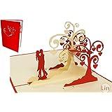 Lin de Pop up Cartes de mariage mariage cartes, invitations Valentin Cartes cartes 3D Cartes de vœux Félicitations cartes de mariage amour, küssendes Paire/Coeur arbres