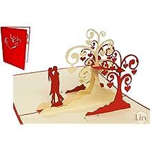 LIN-POP UP Karten Hochzeitskarten, Hochzeitseinladungen Valentinskarten 3D Karten Grußkarten Glückwunschkarten Liebe Hochzeit, küssendes Paar/Herzbäume