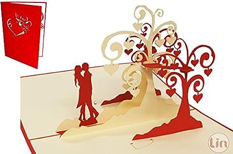 Lin de Pop up Cartes de mariage mariage cartes, invitations Valentin Cartes cartes 3D Cartes de vœux Félicitations cartes de mariage amour, küssendes Paire/Coeur