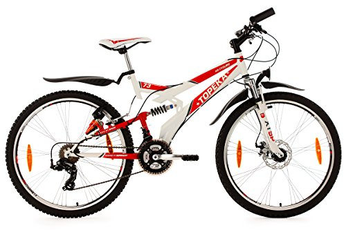 KS CYCLING TOPEKA   BICICILETA DE MONTAÑA DE DOBLE SUSPENSION  COLOR BLANCO / ROJO  RUEDAS 26  CUADRO 44 CM