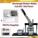 Rechteck 25x 70mm pro Badge Button Maker Maschine + 100Pin Badge Stuff Bank Button