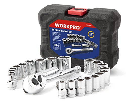 WORKPRO 24-piece Socket Set 3/8 Ratchet and Drive Sockets Set with Blow Molded Case