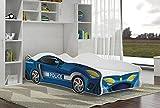 Froschkönig24 Autobett TURBO POLICE Rennfahrerbett Polizei Kinderbett Spielbett Bett Blau/Weiß