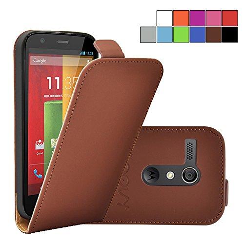 otorola Moto G XT1032 XT1033 (1. Generation Model 2013) Slim Flip Case Tasche Etui inklusive gratis Displayschutzfolie | Farbe braun ()