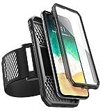 SUPCASE iPhone X Armband iPhone Xs Armband Sport Hülle Einfache Montage Lauf Hülle Verstellbar Running Case eingebautem Displayschutz für Apple iPhone X 2017 / iPhone Xs (5.8 Zoll) 2018, Schwarz