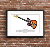 George Morgan Illustration Kurt Cobain's Fender Jaguar Gitarre Art Poster A3-Format