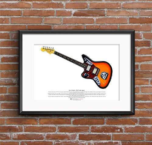 George Morgan Illustration Kurt Cobain's Fender Jaguar Gitarre Art Poster A3-Format (Kurt Cobain-gitarre)