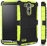 Für LG G3 mini Hülle,TPU+PC Schutzhülle,Rüstung Serie Hohe Qualität Schutzhülle Muster Anti-Scratch und Anti-Schock stoßfest Stoßdämpfend Schutz Handy Hülle Case Back Cover Tasche mit Ständer[Schwarz+Grün]