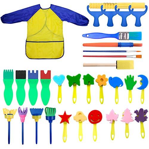NATUCE Niños Esponja Pintura Cepillos Kit, Pintura de Dedos para Niños, 31 Piezas Temprano Aprendizaje Herramientas de Pintura con Impermeable Delantal para Artes DIY Artesanías