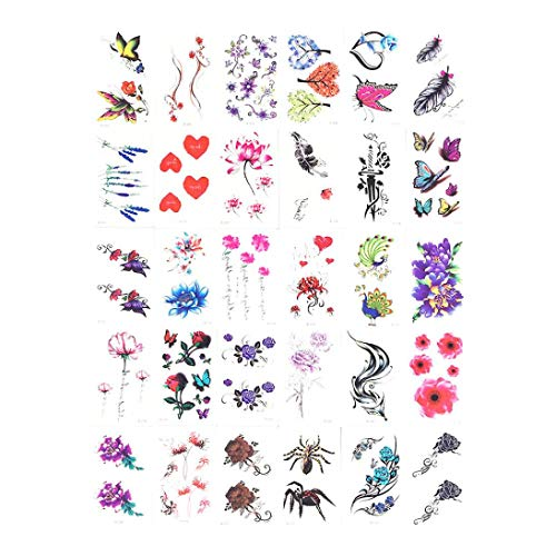 Dinglong 30 Tattoo Aufkleber wasserdichte weibliche dauerhafte koreanische Simulation kleine frische Blume sexy Englisch Schlüsselbein...