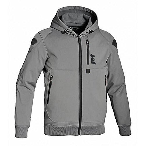 JET Motorcycle Motorbike Protective Jacket Black and Grey Hoody Armoured Soft Shell (4XL (48 - 50), Grey)