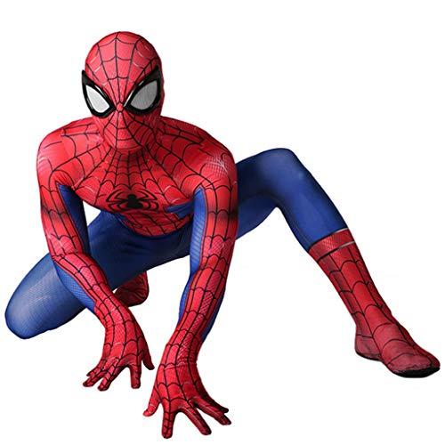 Deluxe Kostüm Kleinkind Spiderman - Superheld Spiderman Kostüme Erwachsene Cosplay Spider-Man Homecoming Body Overall Party Kostüm Unisex für Halloween,Rot,M