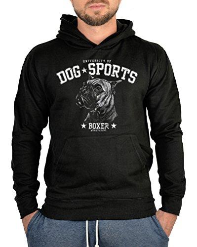 Art & Detail Shirt Hunde Kapuzen Sweater: Boxer in Schwarz -