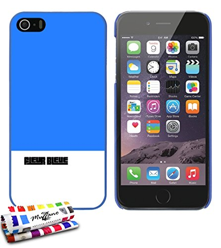 Coque rigide Ultra-Slim APPLE IPHONE 5S / IPHONE SE au motif exclusif [Fleur bleue] [Blanche] de MUZZANO + STYLET et CHIFFON MUZZANO® OFFERTS - La Protection Anti-rayure ULTIME, ELEGANTE ET DURABLE po Bleu