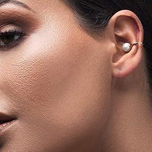 925er Ohrstulpe aus Sterling silber mit Perle, ohr manschette für nicht durchbohrtes Ohr, griechischer handgefertigter…
