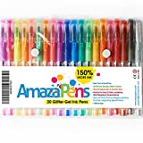 amazapens Penne Gel Glitter. 150% più inchiostro come altri Set 20 Glitter Assorted