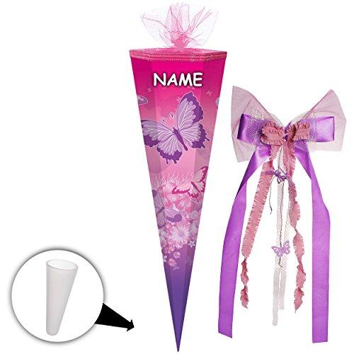 alles-meine GmbH Schultüte -  Schmetterlinge & Blumen - Rosa - Pink  - 85 cm - Eckig - Incl. ..