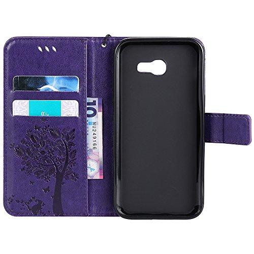 Pour Samsung Galaxy A5 2017 Case, TPU / PU en cuir estampé en cuir avec housse de motif avec fonction portefeuille et cordon et support et caractéristique Kickstand ( Color : Green ) Purple