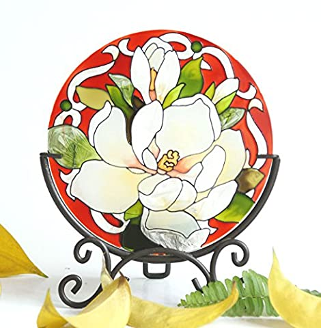 Hand Painted Art Glass Tea Light Candle Holder Table Topper Candleware Holiday Decor Home Decor Spa Decor Birthday Party (Flower)