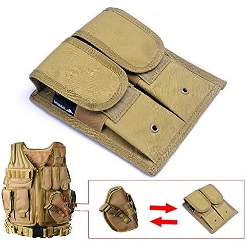 YAKEDA® Ejército Fans chaleco táctico VT-1063, pistola táctica adicional Doble Mag bolsa VT11 (dos piezas) (khaki)