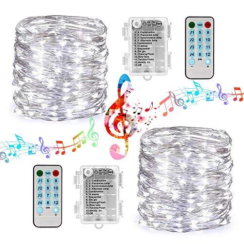 Kupferdraht-Lichterketten, 10M 100LED Musik Lichterketten Kupferdraht LED-Leuchten mit Sound Aktiviert Musik-Sync-Licht Wasserdicht 12 Modi Dekorative Batterie(2 Pack)
