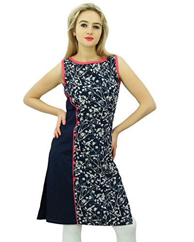 Bimba Womens florale Navy Blau Baumwolle Kurta Tunika indische Kurti Designer ärmellose Bluse (Womens Ärmellose Designer Bluse)
