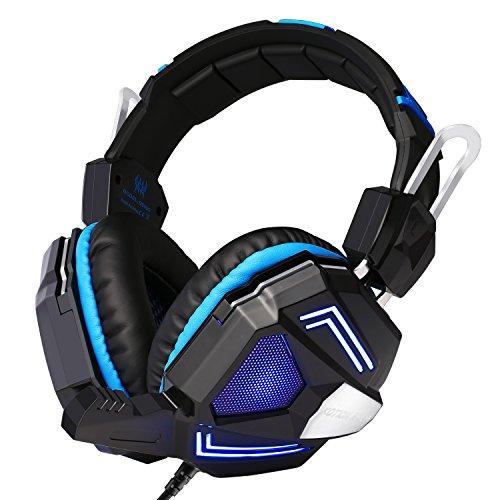N G5000 Stereo Gaming Headset PC Gamer Headset Kopfhörer Laptop mit 7.1 Surround Sound, LED Licht Mikrofon In-line Lautstärkeregler für PS4/Xbox One/PC blau ()