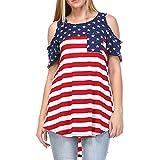 Bekleidung Damen AMUSTER Frauen Sexy Off Shoulder Tops Shirt Patchwork Amerikanische Flagge Drucken Bluse Loose Fit Shirt Tops Einfarbig Rundhals Bluse (XXL, Rot)