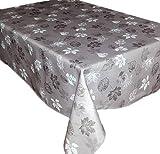 Tischdecke Pflegeleicht Grau Polyester Tafeldecke Eckig Motivdruck Blätter Grau Tischtuch Decke Herbst (Tischtuch 130x170 cm)