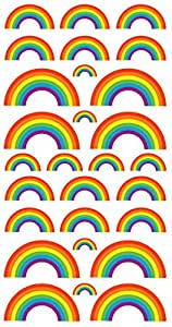 Purple Peach Fun, Social and Educational Sticker Sheets Rainbows and Stars for Parents and Teachers(Pack of 12)