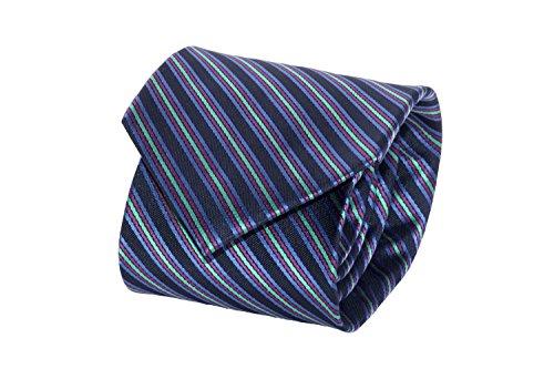 Cravatta uomo classica LANCETTI blu fantasia regimental 100% seta B392