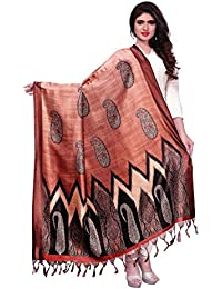 Kanchnar Women's Yellow And Brown Bhagalpuri Silk Digital Print Dupatta