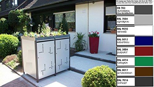 Metall Mülltonnenbox für 2 Tonnen, Müllcontainer, Müllbox. Made in Germany. # Größe: Für 2 Tonnen bis 240 l # Farbe: Farbenauswahl per EMail angeben # Dach: Mit Pflanzwanne # Stanzung: Serie