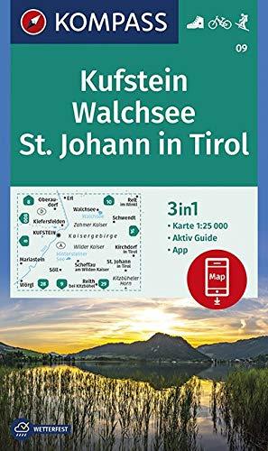 Carta escursionistica n. 09. Kufstein, St. Johann in Tirol 1:25.000: 3in1 Wanderkarte 1:25000 mit Aktiv Guide inklusive Karte zur offline Verwendung in der KOMPASS-App. Fahrradfahren. Skitouren.