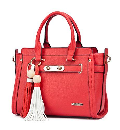 Keshi Pu neuer Stil Damen Handtaschen, Hobo-Bags, Schultertaschen, Beutel, Beuteltaschen, Trend-Bags, Velours, Veloursleder, Wildleder, Tasche Rot
