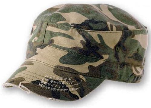 Camouflage Military Style Cap (Army Destroyed Cap im Fidel Castro Kuba Look. Fullcap im Military Style in 7 Farben und den Grössen S/M und L/XL S / M,Camouflage)