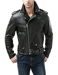 BGSD Men's Classic Cowhide Leather Motorcycle Jacket (Regular Big & Tall)