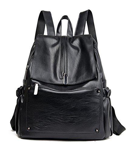 Keshi Pu Niedlich Damen accessories hohe Qualität Einfache Tasche Schultertasche Freizeitrucksack Tasche Rucksäcke Schwarz 1