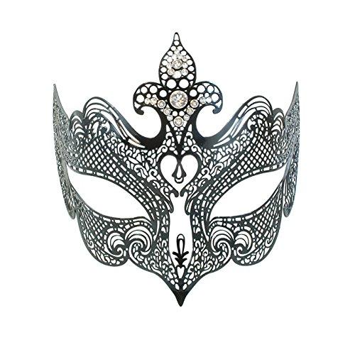 """La Fucina dei Miracoli, Maschera in metallo nero con strass Swarovski® originali, """"Giglio"""""""