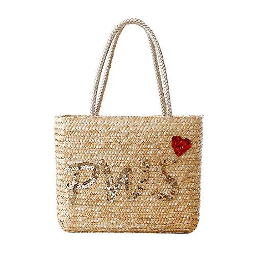 Dunland Damen Kunstleder Handtaschen Pailletten Brief Stroh Tasche Strandtasche Frauen Designer Taschen Tote Schulter Taschen 72 Mehrfarbig2