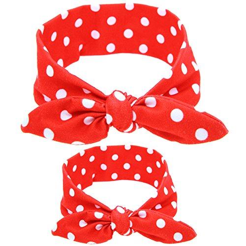 Baby Stirnband-Kit, Chickwin 2pcs nettes DIY Blumen Kaninchenohr-elastisches Tuch-Stirnband stellte für Mutter und Baby ein (Roter Punkt) (Silber Hippie Kit)