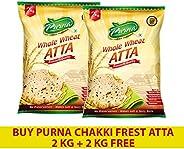 Purna Chakki Fresh Atta - 2 kg (Pack of 2)