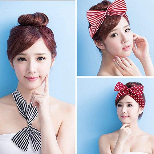 Dee Plus Fascia per capelli con nodo a orecchie di coniglio Arco di  Torsione Polka Puntino Striscia Elegante e ... 151834451862