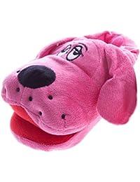 SAMs perro Zapatillas de peluche Niños fuxia Color Rosa Con Texto bordado animales Zapatillas