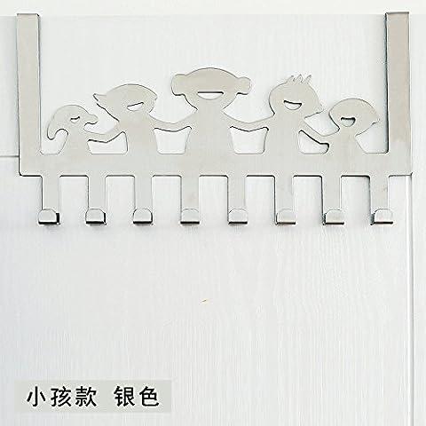 puerta de acero inoxidable minimalista después de ganchos no están libres de arañazos clavija puertas ganchos de percha dormitorio escudo perchas de puerta trasera, [Niños Felices - Plata]
